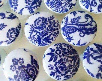SALE15 8 Knobs hand decorated  drawer knobs; 8 blue toile- 1 1/2 inches Blue Floral Drawer Knobs- Shabby Chic toile