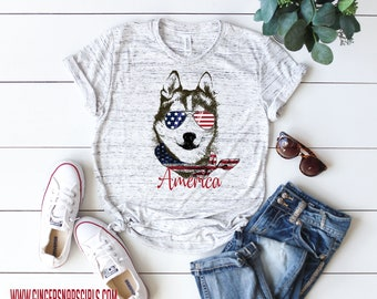 Patriotic Pooch, Husky Mom, Puppy Dog in an American bandanna triblend womens t-shirt, ladies top, Fun, Trendy 4th of July Shirt