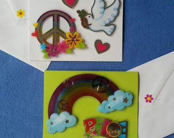 Peace Handmade Greeting Cards - dimensional rainbow, dove, and peace sign with silver accents