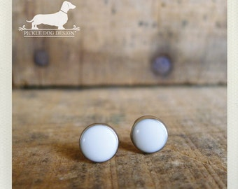 DOLLAR DEAL! White Out. Post Earrings -- (Silver, Small, Simple, White Studs, Summer, Circle Studs, Vintage-Style, Unisex Gift Under 5)