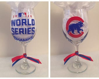 Cubs World Series Wine Glass