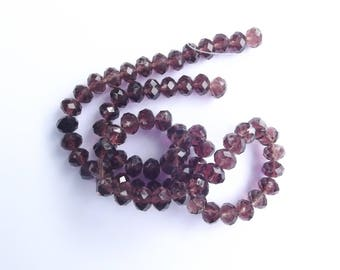 New! 70 purple faceted Crystal rondelles 6 x 8 mm OKTI 212