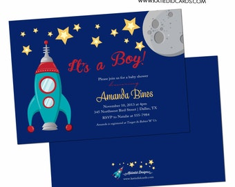 Spaceship couples baby shower invitation boy rocket space moon star coed diaper wipes sip see sprinkle twinkle birthday LGBT | 1273 Katiedid