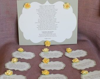 Baby Shower Gift Basket Poem ~ Wedding shower candle poem rustic tag set bridal candle