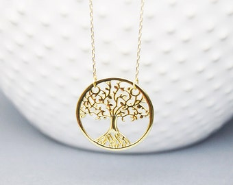 Delicate Sterling Silver Tree Charm Necklace Gold Tree Charm Necklace Birthday Gift Everyday Necklace