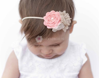 Baby Felt Flower Headband, Pink Baby Headband, Peach Baby Headband, Pink Baby Headband, Felt Flower Headband, Baby Felt Headband