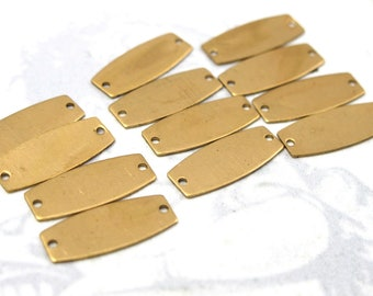 Small Brass Beveled Rectangle Engraving Connector Charms (10X) (M570-A)