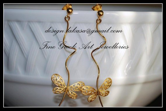 Butterfly Earrings Sterling Silver Gold plated Handmade Jewelry Birthday Woman Anniversary Christmas holidays Best Gift Moda Beauty Romantic