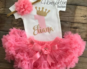 Personalized 1st Birthday outfit, one number 1 tiara crown princess gold glitter shirt bodysuit, coral light pink tutu skirt flower headband