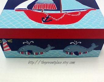 pirate ship keepsake box,  aqua,red,navy,sail boats,whales, boy's memory box,personalized baby gift,children's keepsake box,kids memory box