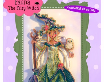 Brooke's Books Fauna The Fairy Witchie-poo Ornament INSTANT DOWNLOAD Cross Stitch Chart