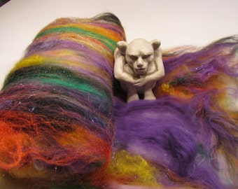 WITCHING HOUR 4.0 oz, fiber art batt for spinning, felting fiber, carded wool, roving, Angelina, bamboo, bling batt, Halloween batt