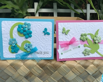 Thank You Whimsical Flower Butterfly Blank Greeting Card