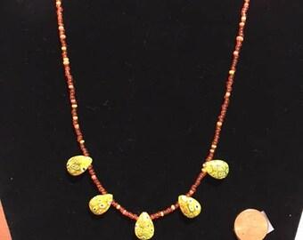 Yellow Millefiori tear drop necklace
