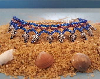 Hand Stitched Turtle Anklet