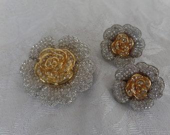 Vintage  Gardenia Brooch and Earrings Set