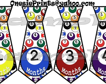 PRECUT 12 Tie Stickers Tie Monthly Stickers Month Stickers Growth Stickers waterproof age stickers decals photo stickers pool ball baby boy
