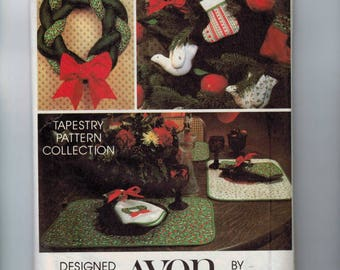 1980s Vintage Sewing Pattern AVON Tapestry Pattern Collection Ornament Christmas Wreath Placemats Stocking Holiday Decorations UNCUT
