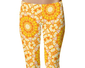 Bright Leggings Yoga Pants, Sunshine Printed Yoga Tights for Women, Yellow and Orange Geometric Pattern