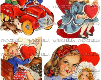 Vintage 1940s Children Girl Boy Valentine Digital Download 319 - by Vintage Bella