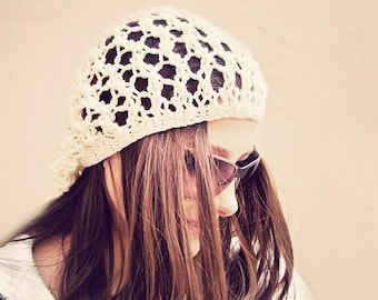 Knit Hat, Boho Hat, Summer Hat, Mesh Hat, Slouchy Beanie Women, Slouchy Hat, Slouch Beanie, Summer Beanie, Summer Beanie Hat, Bohemian Hat