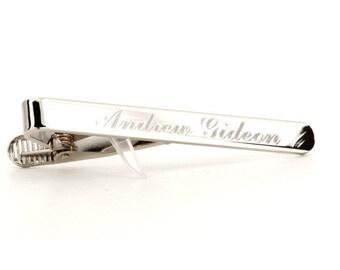 Silver Engraved Tie Bar