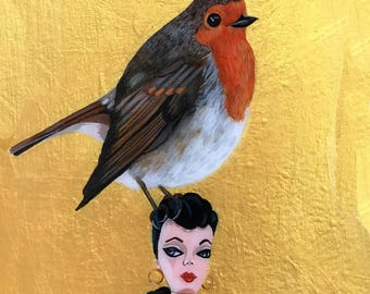 Robin Bird Painting, Robin Painting , Barbie Doll, Bird Painting with Gold, One of a Kind Bird Painting