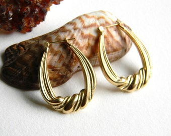 14 K Gold Twist Fine Milgrain Earrings 3 Grams - Retro Hoop 14K Gold Earrings - Pierced 14K Yellow Gold Earrings
