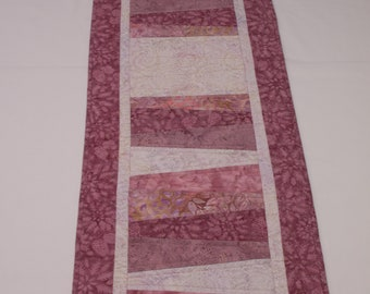 Quilted Batik Table Runner Shades of Pink