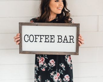 Coffee Bar Wood Sign 9x17"