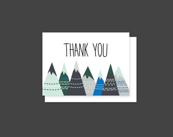 Mountains Thank You Card // Instant Download Thank You Card, Adventure Thank You Card, Downloadable Thank you Card, Outdoor Thank You Card