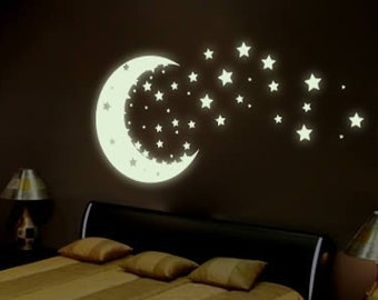 Moon and Stars - glow in the dark removable vinyl wall and ceiling decal
