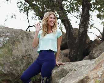 Navy leggings, navy Yoga leggings, navy Yoga pants, blue and gold pants, floral leggings, floral Yoga pants, Yoga clothes, hot Yoga pants