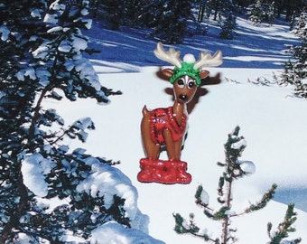 Handcrafted Novelty Crazy Christmas Reindeer With Boots, Hat & Coat Shirt/Lapel/Hat Pin