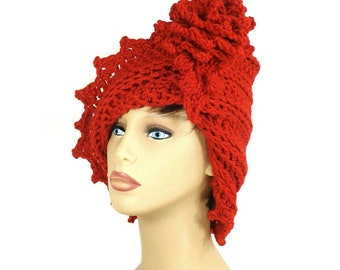 Red Cloche Hat,  Crochet Hat Red Womens Hat 1920s,  Red Hat,  Lauren 1920s Cloche Hat Crochet Flower,  Russian Hat