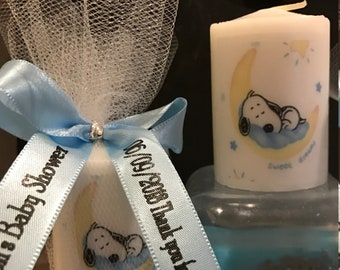Baby Shower Favors, Shower Favor, Snoopy like favors, Candle Favors,  classic themed Favors, Baptism , Holy Communition Favors