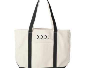 Sigma Sigma Sigma Canvas Tote Bag,  Sigma Sigma Sigma Beach Bag, Tri Sigma College Book Bag, Sigma Sigma Sigma Tote, Tri Sig Greek Beach Bag