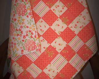 Peach is the new Pink modern baby quilt