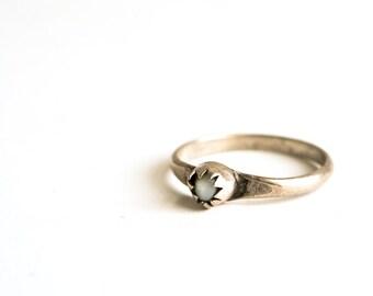 Vintage Moonstone Ring / Gemstone and Sterling Silver Handmade Artisan Ring / Womens Gemstone Ring