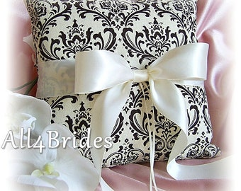 Wedding pillow, brown and Cream madison damask wedding ring bearer pillow, wedding ring cushion