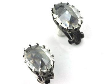 Oxidized Silver Crystal Clip Earrings