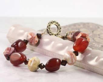 Carnelian Bracelet Deep Red Cream Gemstone Mocha Chunky Agate Toggle Clasp Fall Fashion Beaded Bracelet