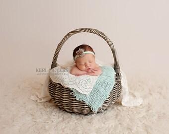 Ilona - Mint Green Taupe Plum Purple Headband - Lace Flowers Pearl - Newborn Infant Baby Girl Toddler Adult