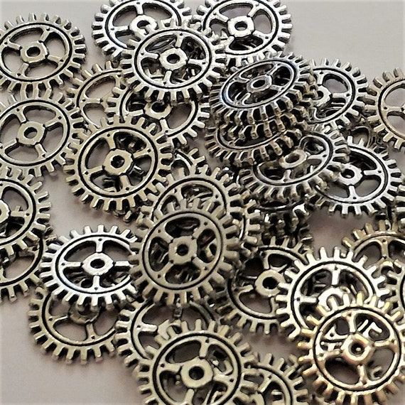 "CLEARANCE 47 pcs 10mm Steampunk Clock Gears Cogs Charms Metal Bike Steampunk Jewelry Silver Metal Watch Gears 3/8"" Diameter Bicycle Gears"