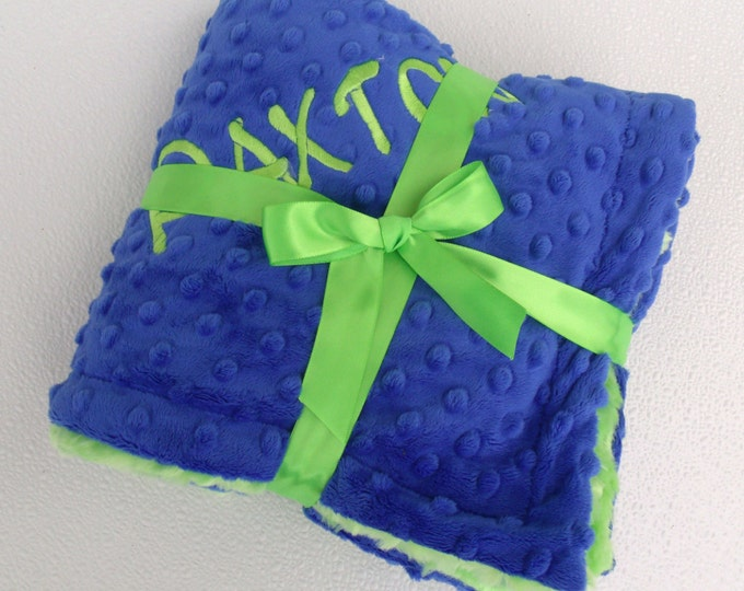 Royal Blue and Kiwi Green Minky Blanket for Baby Boy