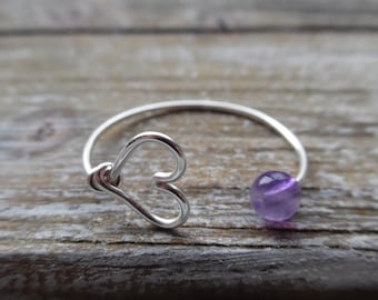 Sterling Silver Amethyst Ring, Heart Ring, Gold Amethyst Ring, Silver Amethyst Ring, 14K Gold Amethyst Ring, February Birthstone Jewelry