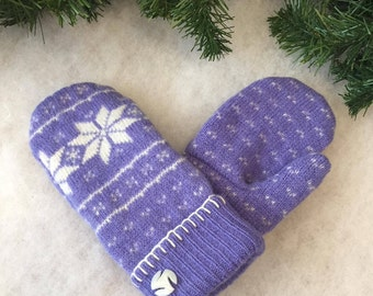 Warm wool sweater mitten, purple wool snowflake upcycled/recycled, ladies large mitten, flannel lined mitten, eco friendly, gift for her