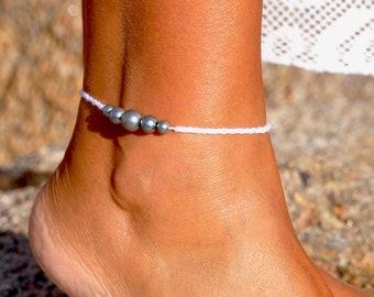 Blue Pearl Anklet | Beach Wedding Anklet | Ankle Bracelet | Gift Under 15 | Bridal Anklet | Adjustable Anklet | White Anklet | Foot Jewelry