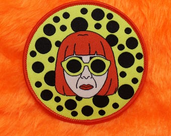 Yayoi Kusama iron on patch /// artist inspired badge patches Japanese feminist surreal pop art dots spots mental health sunglasses gift