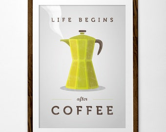 Life begins after coffee print. Coffee lover gift coffee poster green Kitchen wall art coffee gifts coffee gift kitchen print kitchen art